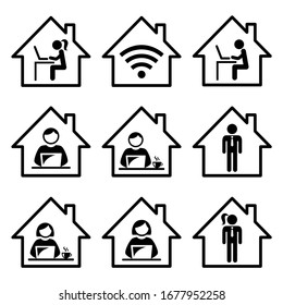 People working from home vector icon set, freelance man and woman working on their laptop, computer, home office design. Remote working icons collection, freelancing jobs, self-employed, e-learning
