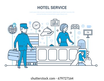 People working in hotel, staff. Service, reception. Character porter, receptionist, tourism element. Illustration thin line vector, infographics elements.
