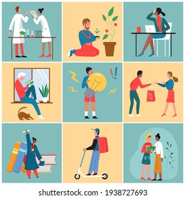 People working, life scenes vector illustration set. Cartoon tiny man woman characters learn to find new creative idea, work in office or shop sales, postal delivery service, read book background