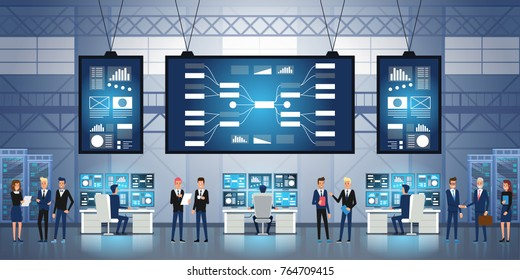 People working and managing IT technology control center. System Control Center Full of Monitors and Servers. Vector illustration