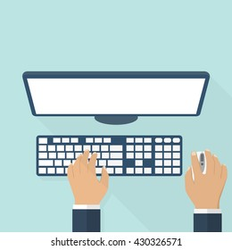 People working on the computer. The hands on the keyboard and mouse. Flat style design, vector illustration. The programmer, blogger, freelancer, designer, office employee.