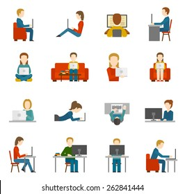 People working on computer and home and in office flat icons isolated vector illustration