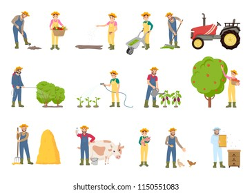 People working on farm, in garden, vector banner. Farmer cares of domestic animals, water the plants, with farming equipment, wheelbarrow and tractor