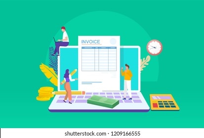 people working on invoice on laptop vector illustration concept, can use for, landing page, template, ui, web, mobile app, poster, banner, flyer