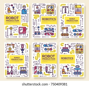 People working on robots assembly thin line set. Robotic production  linear template of flyer, magazines, posters, book cover, banners. Layout repairs outline modern pages