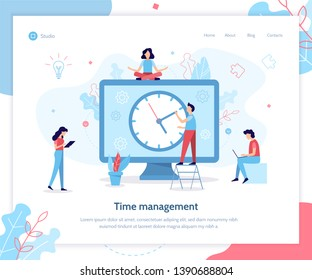 People are working on a schedule for the project. Time management. Landing page template. Flat vector illustration.