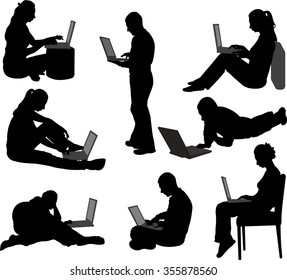 people working on their laptops silhouettes - vector