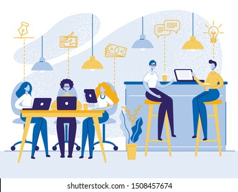 People Working, Relaxing, Drinking Coffee and Messaging with Gadgets in Coworking Area or Office. Teamwork Communication, Digital Technologies and Crowdsourcing People Cartoon Flat Vector Illustration