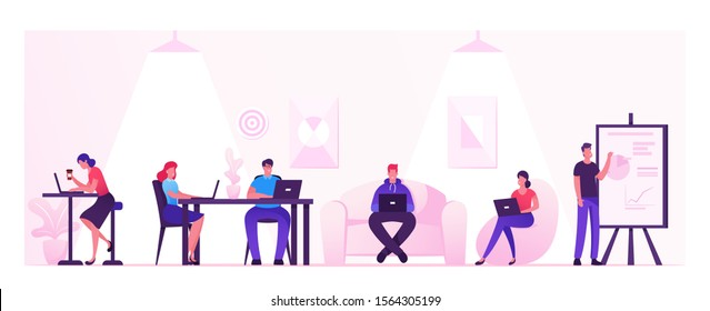 People Working Relaxing Drinking Coffee and Messaging with Gadgets in Coworking Area or Creative Office. Teamwork Communication, Digital Technologies and Crowdsourcing. Flat Vector Illustration