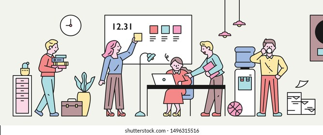 People working together in the office. flat design style minimal vector illustration.
