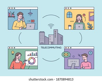 People working together on an internet network. Video meeting concept. flat design style minimal vector illustration.