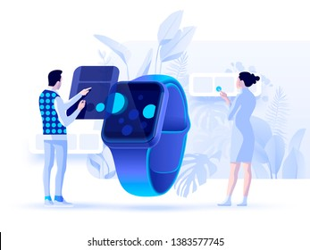 People working with a watch applications. Vector 3d illustration. Header concept