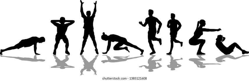 People Workout Silhouette Sport Vector