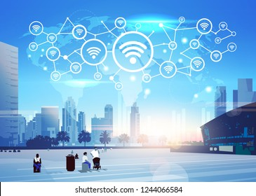 people world map internet wireless technology icon network futuristic interface online wifi connection concept skyline sunset cityscape buildings background flat horizontal