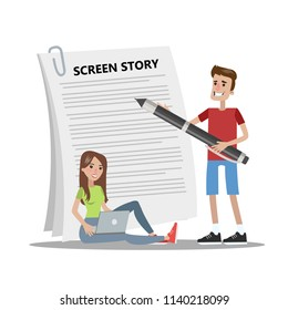 People writing scenario for video blog. Creating script. Isolated vector illustration set.