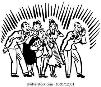 People Yelling - Retro Clip Art Illustration