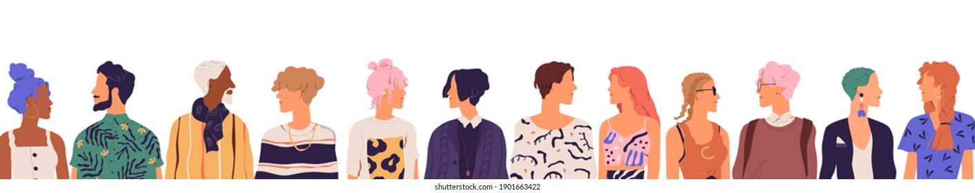 People of younger generation. Crowd of diverse young modern men and women isolated on white background. Friends communicating together standing in a row. Colored flat vector illustration