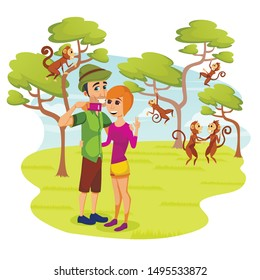 People in Zoo, Happy Couple Making Selfie at Animal Park, Photographing Wild Monkeys Playing and Jumping on Trees Behind, Safari, Leisure, Traveling Pastime, Outdoors. Cartoon Flat Vector Illustration