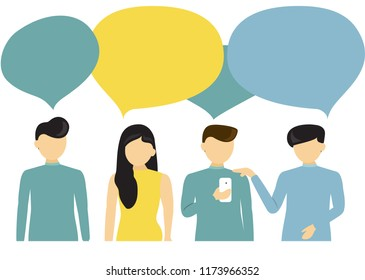 People's communication with speech bubbles isolated on white background. People talking, business concept for web site, app, wallpaper, poster, placard and ad. Vector illustration, eps 10