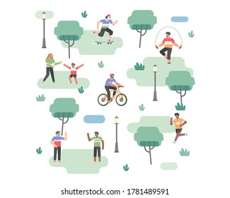 Peoples doing outdoor activity at city park in the new normal time after coronavirus pandemic while still wearing a face mask vector illustration concept background