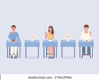 Peoples eating food alone at tables in the restaurant. Arrangement blank space to prevent and stop Coronavirus spread by doing social distancing while   Illustration about physical distancing and new