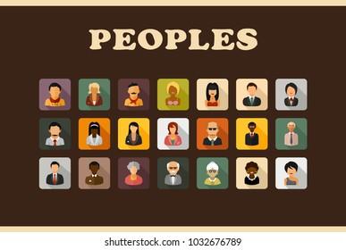 Peoples flat icons set. Avatar symbols. Vector illustration.