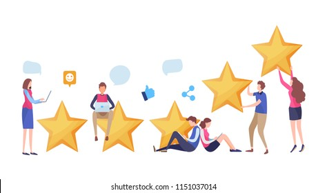 People's giving five star rating via website application. User feedback review scroll. Social media. Cartoon illustration vector graphic on white background.