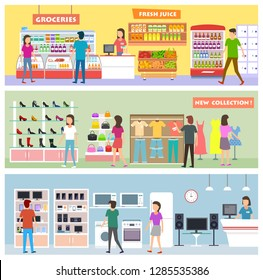 Peoples on shoping and choosing products in grosery store,fashion shop and consumer electronics store.Vector banners for market promotion in flat style