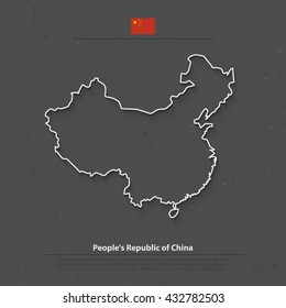 People's Republic of China isolated map and official flag icons. vector Chinese political map thin line illustration. Asian country geographic banner design. travel, business concept map. vector maps