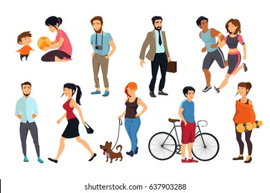 Peoples walking on street. Vector illustrations set