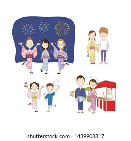 People,stalls,fireworks at summer festival in Japan.An illustration.