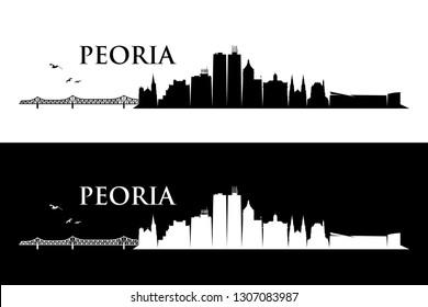 Peoria skyline - Illinois, United States of America, USA - vector illustration