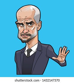 pep guardiola caricature vector with layers