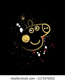 Pepa pig in gold, on a black background.