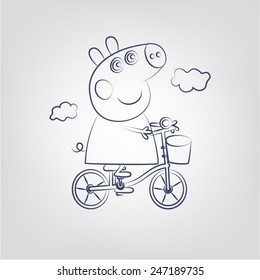 Pepa pig on a bicycle line