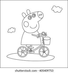 Pepa pig on a bicycle line
