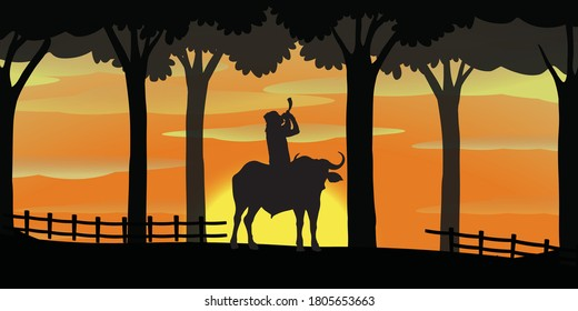pepa player silhouette from assamese bihu . The pepa is a hornpipe musical instrument that is used in traditional music in Assam, India. ... Buffalo-horn is used as a music instrument .