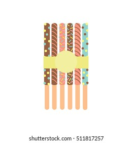 Pepero. Sticks with chocolate tied with a yellow ribbon. Dessert. Sweets. Vector illustration.
