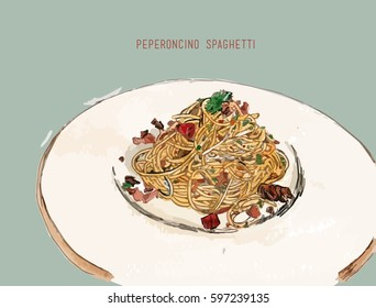 peperoncino spaghetti , Hand drawn vector illustration of spaghetti with spicy arrabbiata sauce on a plate.