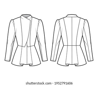 Peplum hem jacket technical fashion illustration with fitted body, long gigot sleeves, wrap collar opening. Flat coat template front, back, white color style. Women, men, unisex top CAD mockup