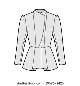 Peplum hem jacket technical fashion illustration with fitted body, long gigot sleeves, wrap collar opening. Flat coat template front, grey color style. Women, men, unisex top CAD mockup