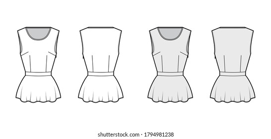 Peplum hem top technical fashion illustration with bonded round neck, sleeveless, fitted body, side zip fastening. Flat apparel blouse template front, back white grey color. Women men unisex shirt CAD