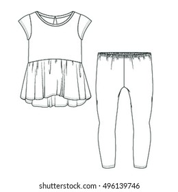 Peplum Top & Leggings Set Illustration Isolated on a White Background