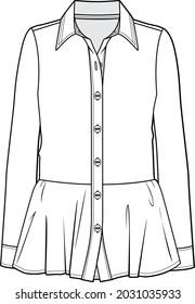 peplum tunic shirt blouse fashion technical flat sketch vector illustration isolated on white background