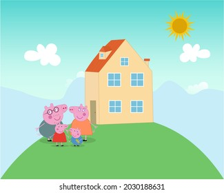 Peppa Pig in the backyard with his family  father, mother  and George