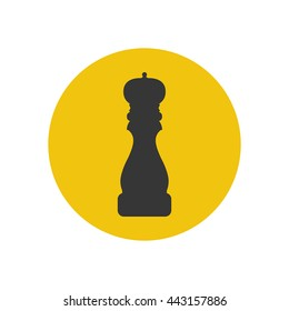 Pepper grinder spices mill silhouette on the yellow background. Vector illustration