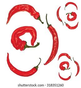 Pepper. Set of chili peppers. Vector illustration.