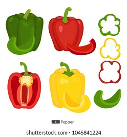 Pepper set. Red, yellow , green pepper cut into rings and slice. Cartoon. Vector. Flat style.