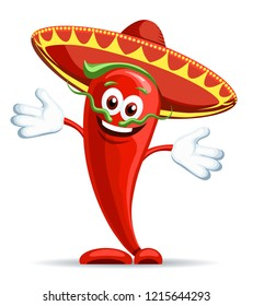 Pepper in sombrero. Smiling hot pepper icon, cartoon mexican chili peppers vector character with mustache and arms