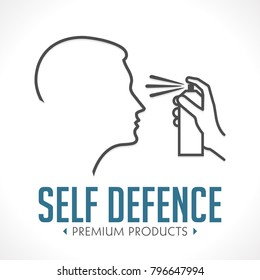 Pepper spray - self defence concept logo